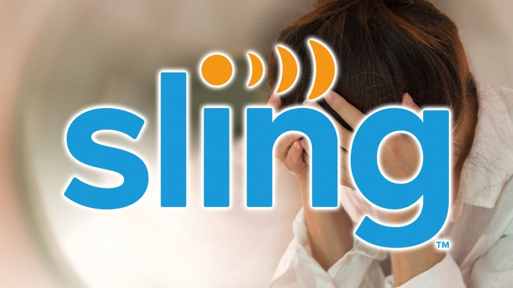 The Sling TV logo over a picture of someone with a migrane.