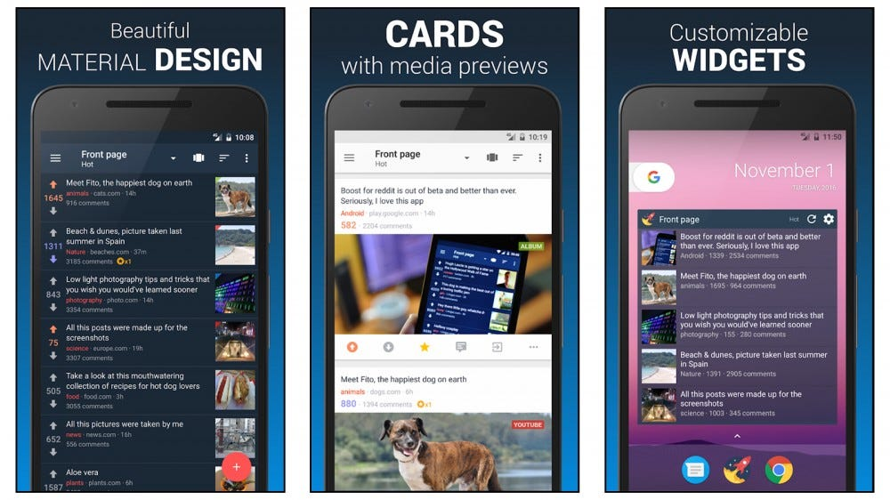 boost for reddit offers a card-based user interface and a beautiful design
