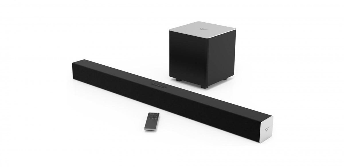 The Vizio SB2821 2.1 sound bar and subwoofer system.