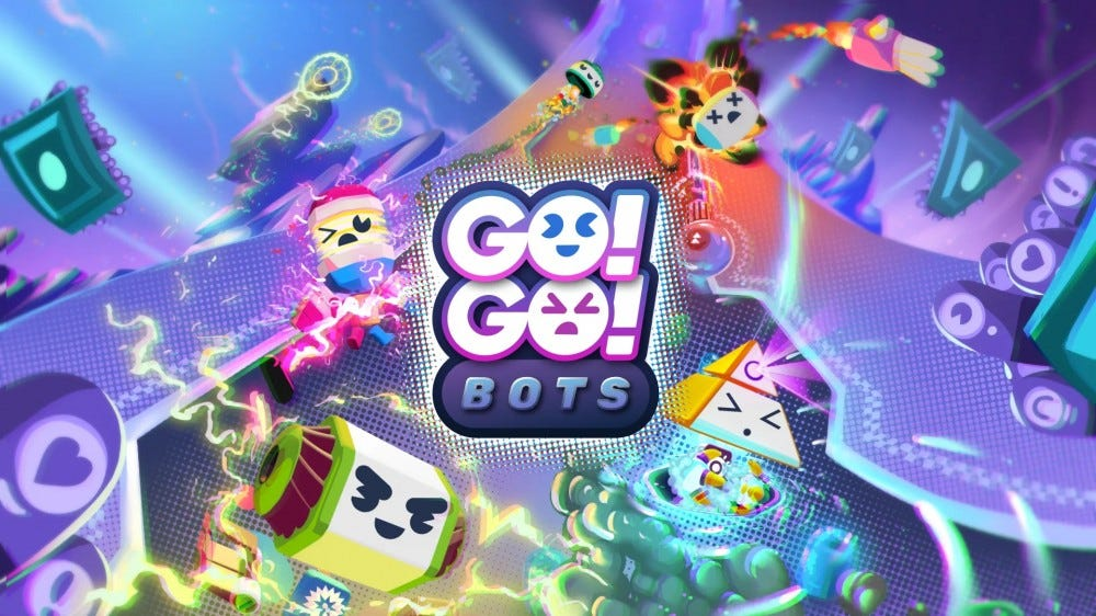 The Go Go Bots logo over a colorful backdrop.