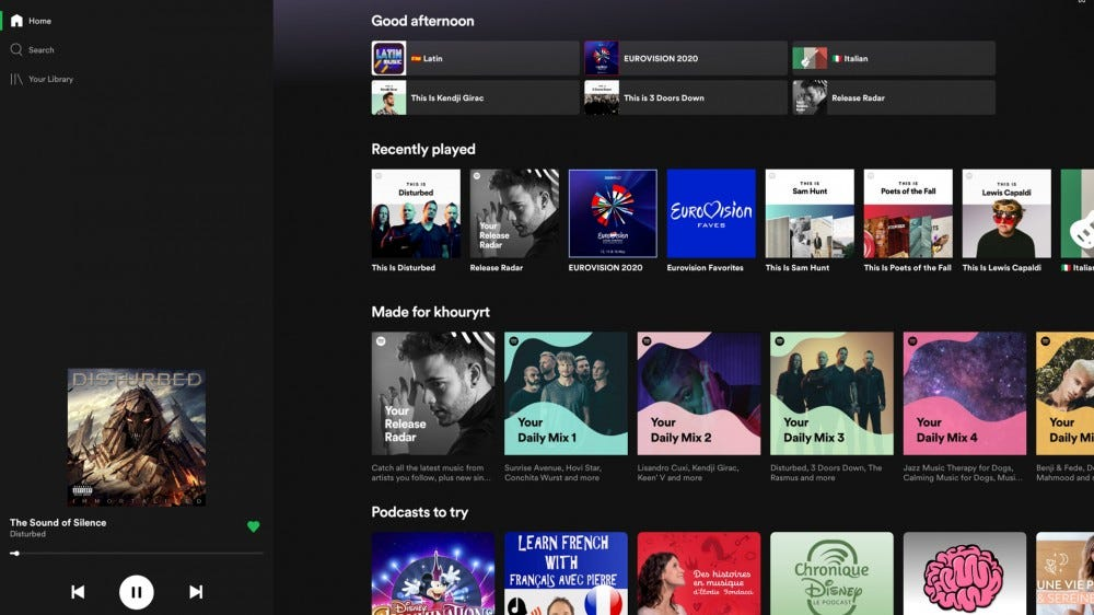 An updated Spotify interface with large album art.