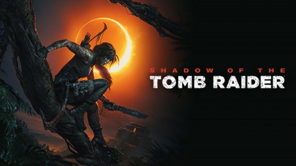 'Shadow of the Tomb Raider' promotional art of Lara Croft climbing a vine.