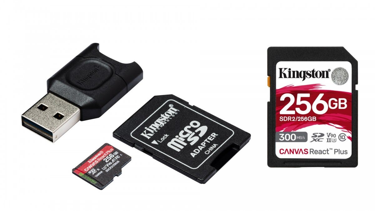New Kingston Canvas React Plus SD and MicroSD cards.