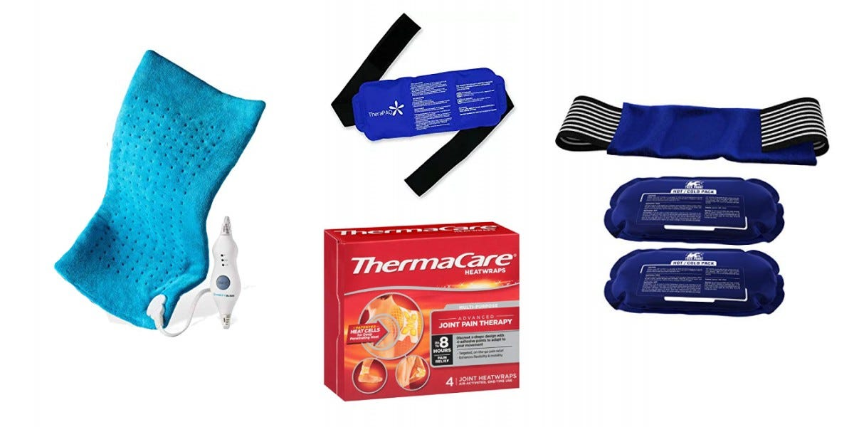 MightBliss Heating Pack, TheraPAQ IcePack, Thermacare Heatwraps, and a Trekproof Hot Cold Pack.