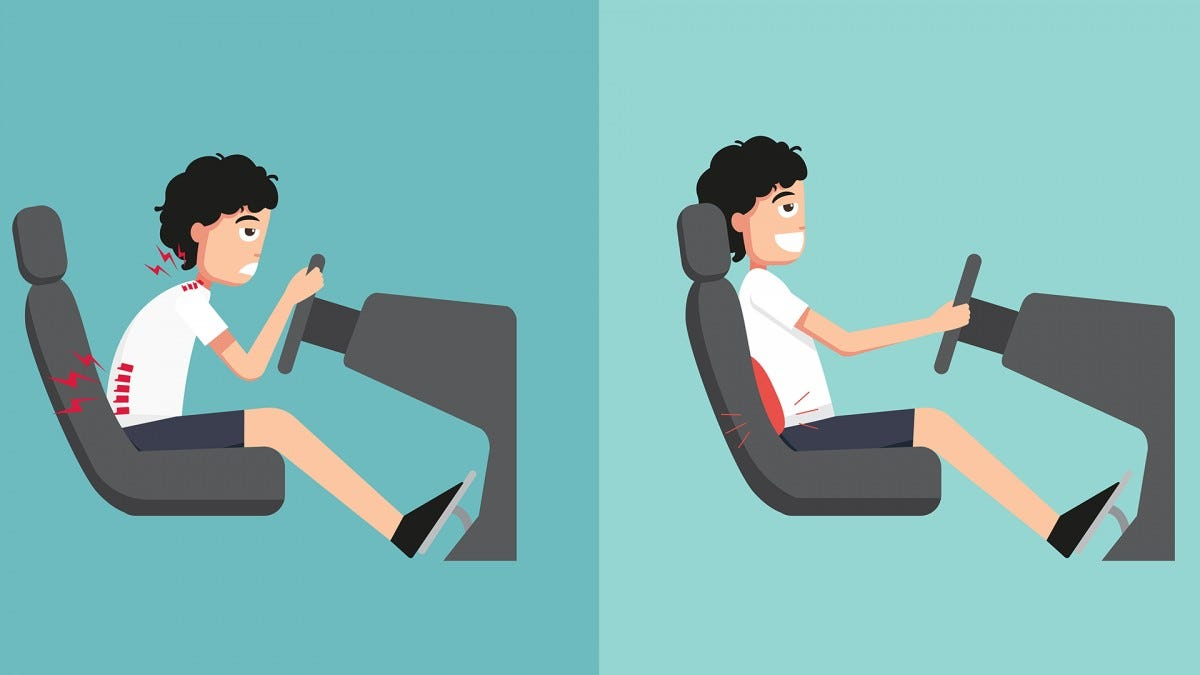 An illustration showing how comfortable a driver looks with a lumbar pillow.