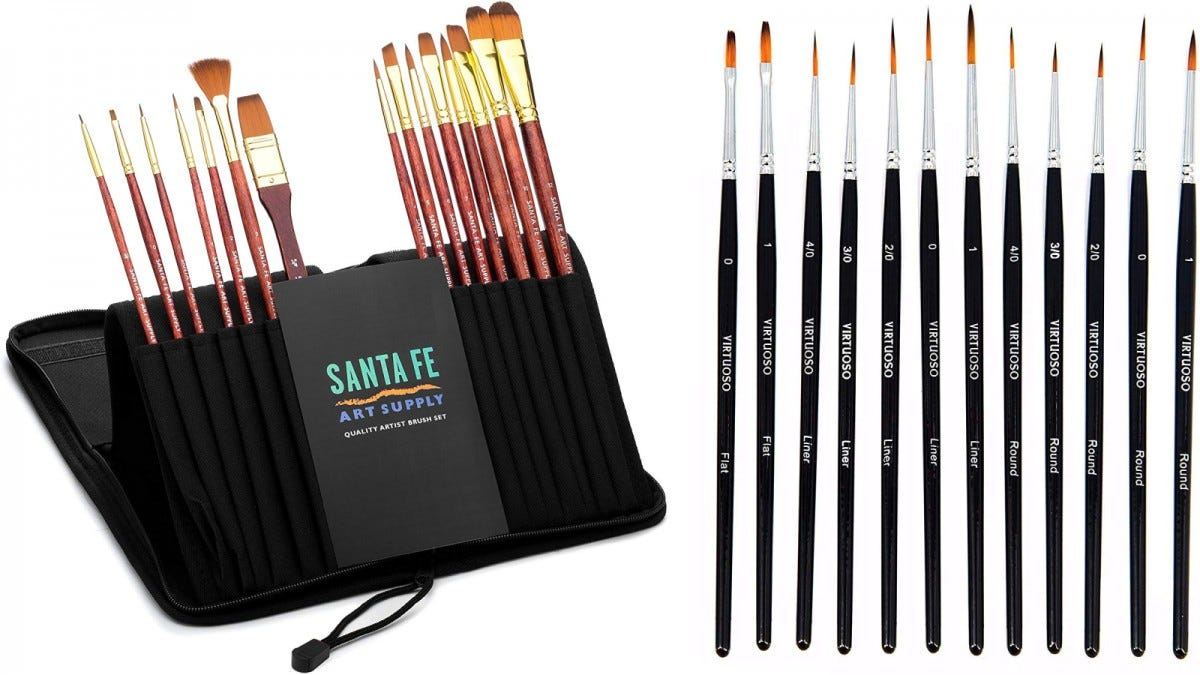 15 Santa Fe Art Supply paintbrushes in their case, and 15 Virtuoso fine paintbrushes.