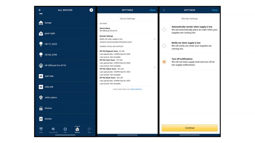 The Alexa app with printer settings open