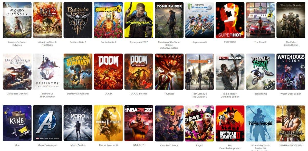 a screenshot of Google's Stadia games site.