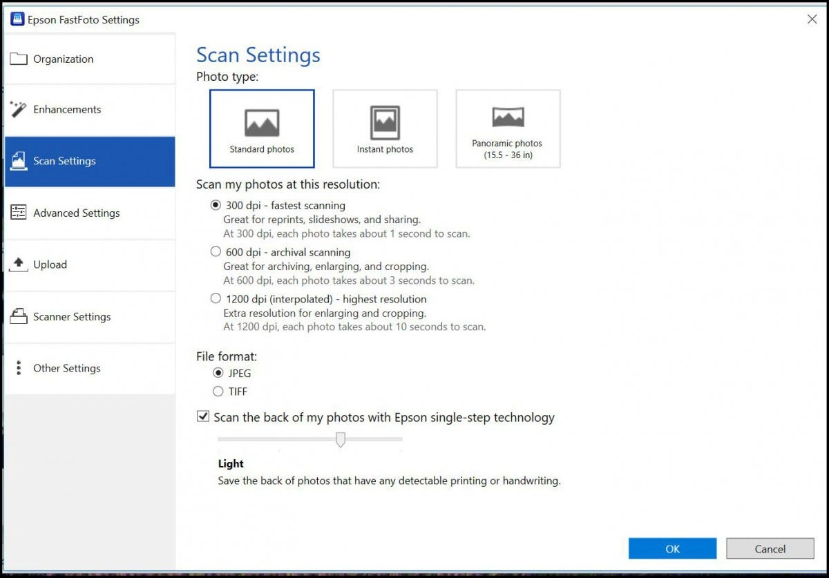 "The ""Scan Settings"" menu in the Epson FastFoto software."