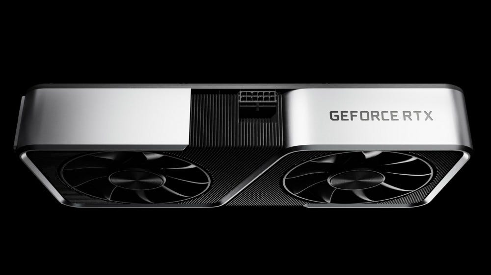 A NVIDIA RTX 3060 graphics card, seen from above.