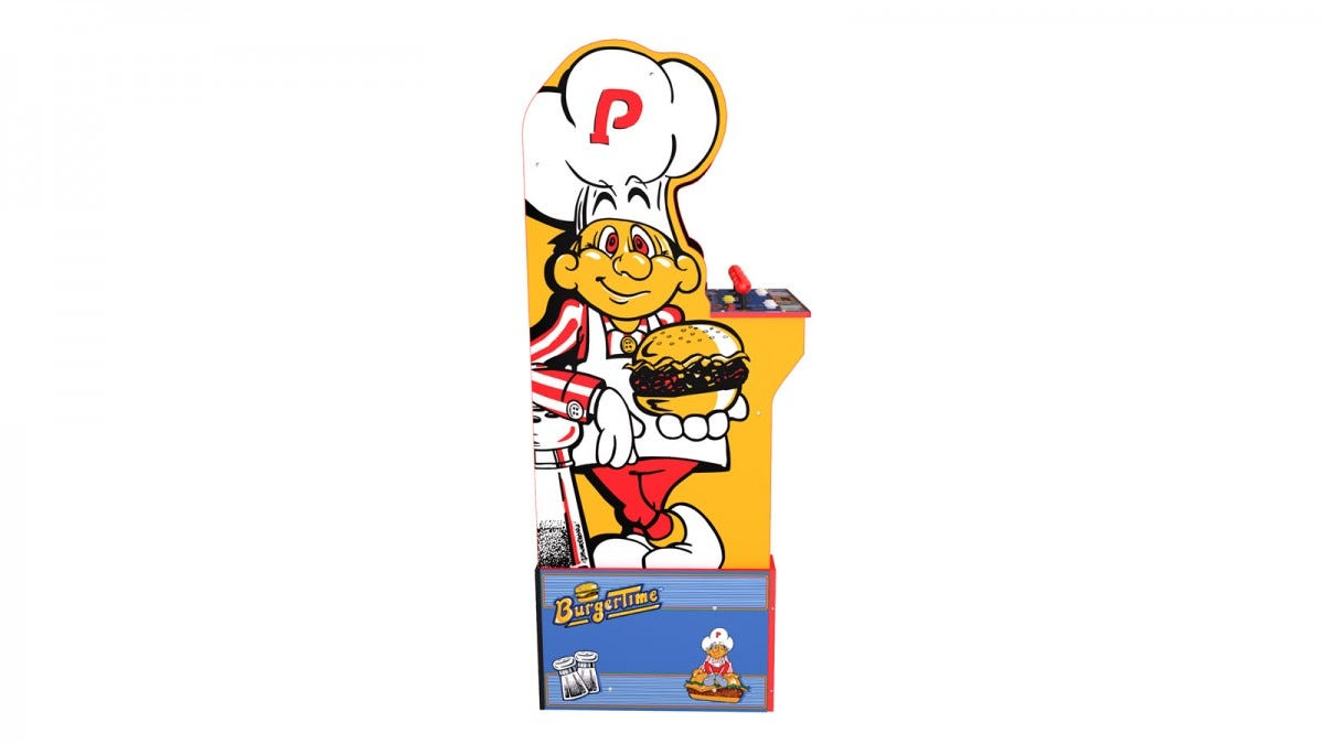 The side of a Burger Time arcade Machine, with a chef holding a burger.