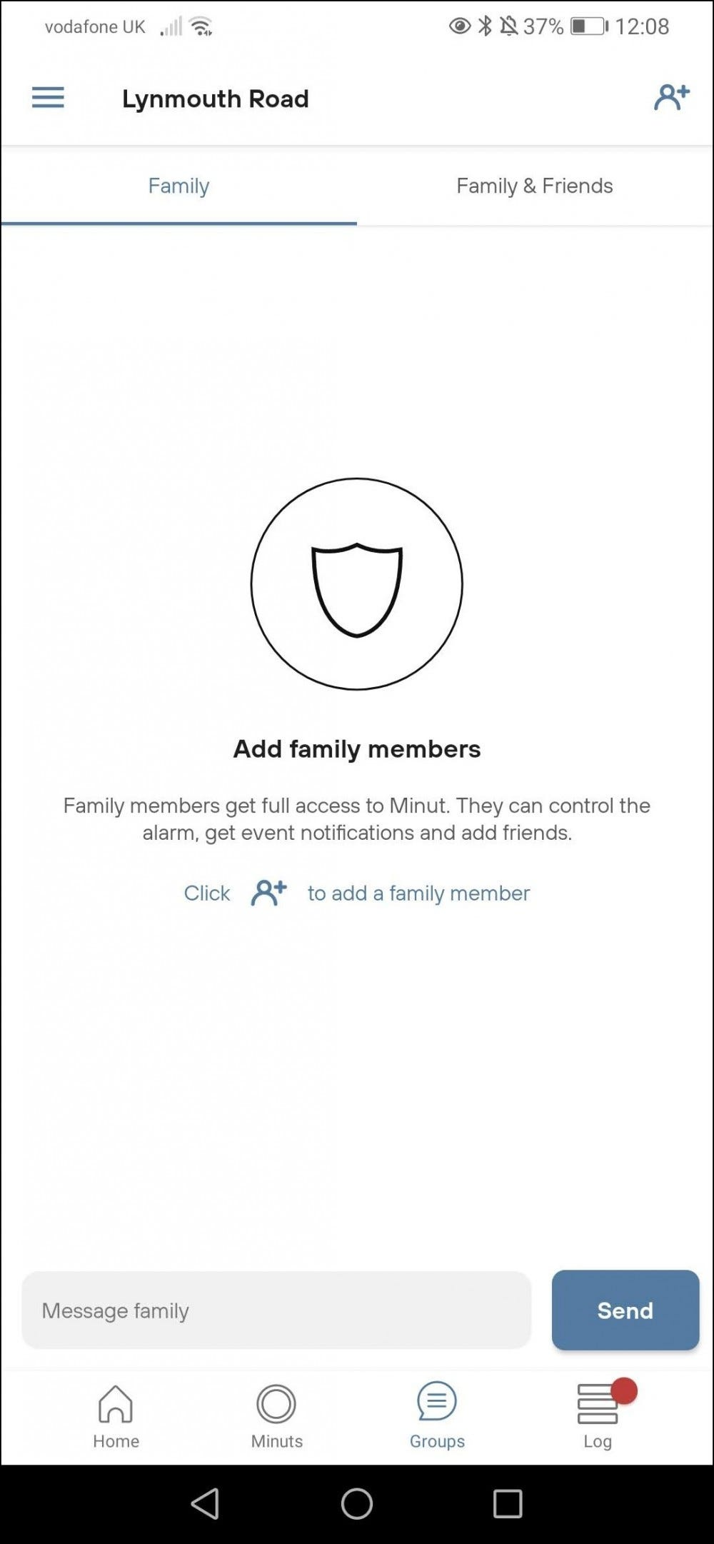 minut app groups page