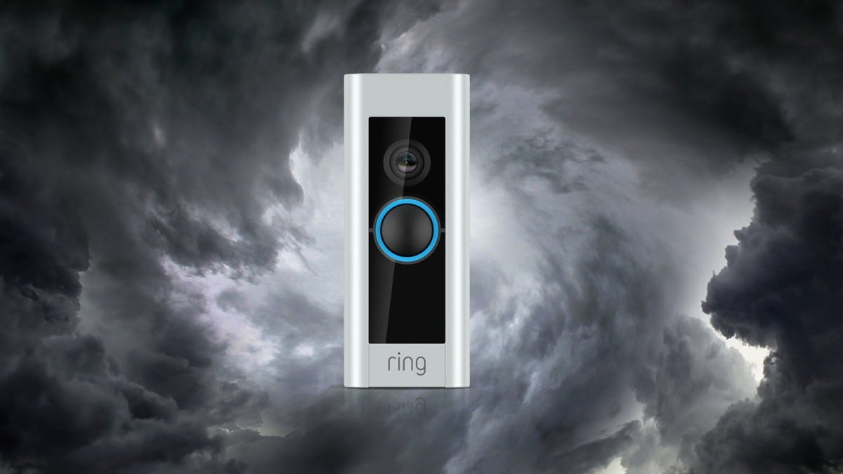 A Ring Video Doorbell with a swirl of clouds in the background.