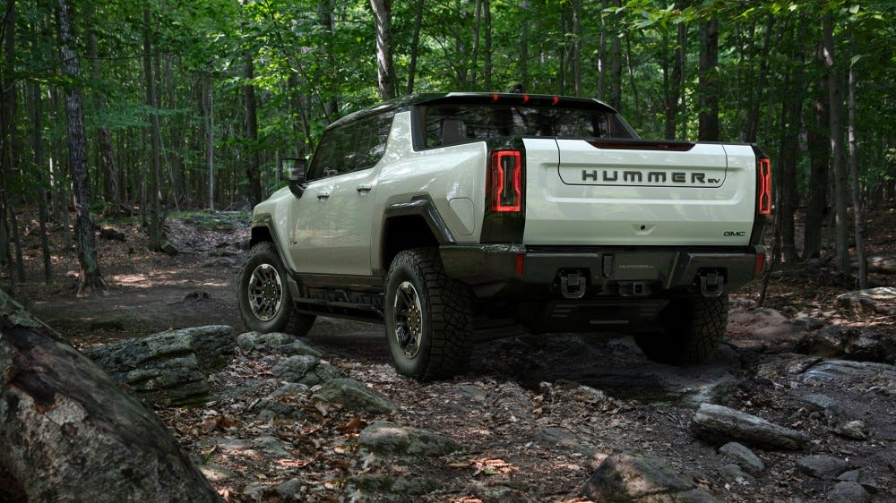 A view of the Hummer EV from the back