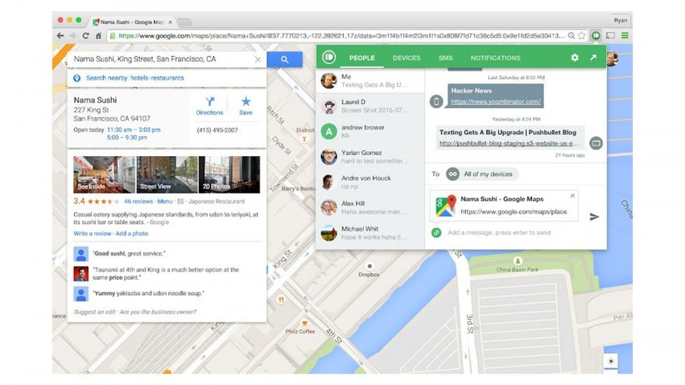 View all incoming communication from chats to SMS messages in your browser