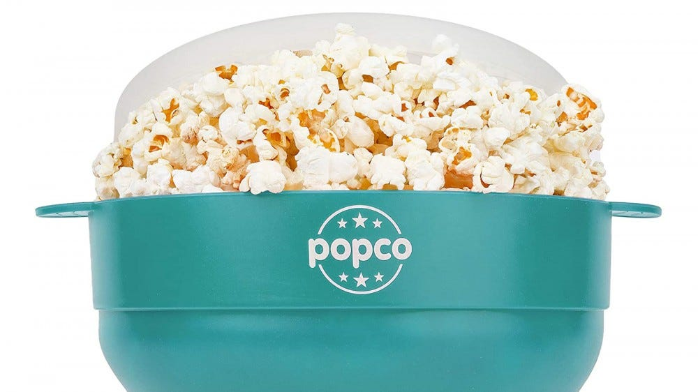 Original Popco Silicone Microwave Popcorn Popper in teal with popcorn inside
