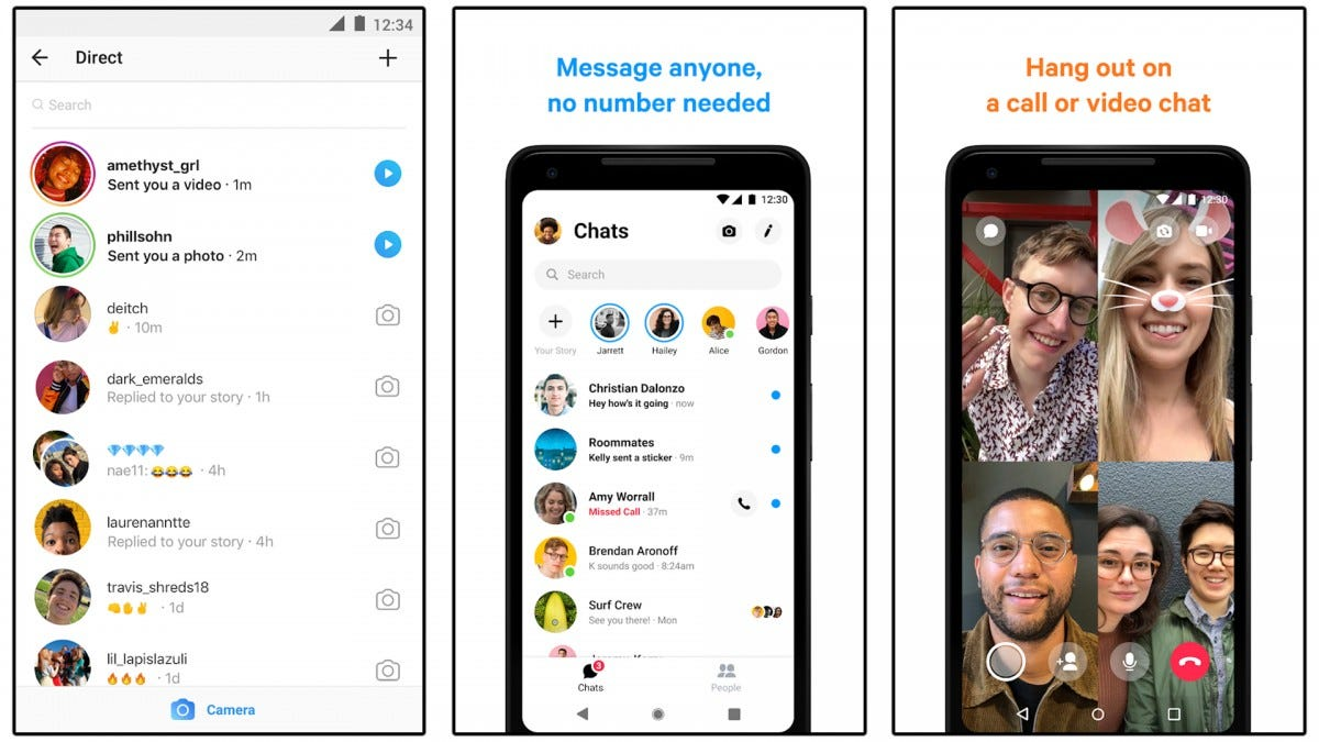 Screenshots of the Facebook Messenger and Instagram apps.