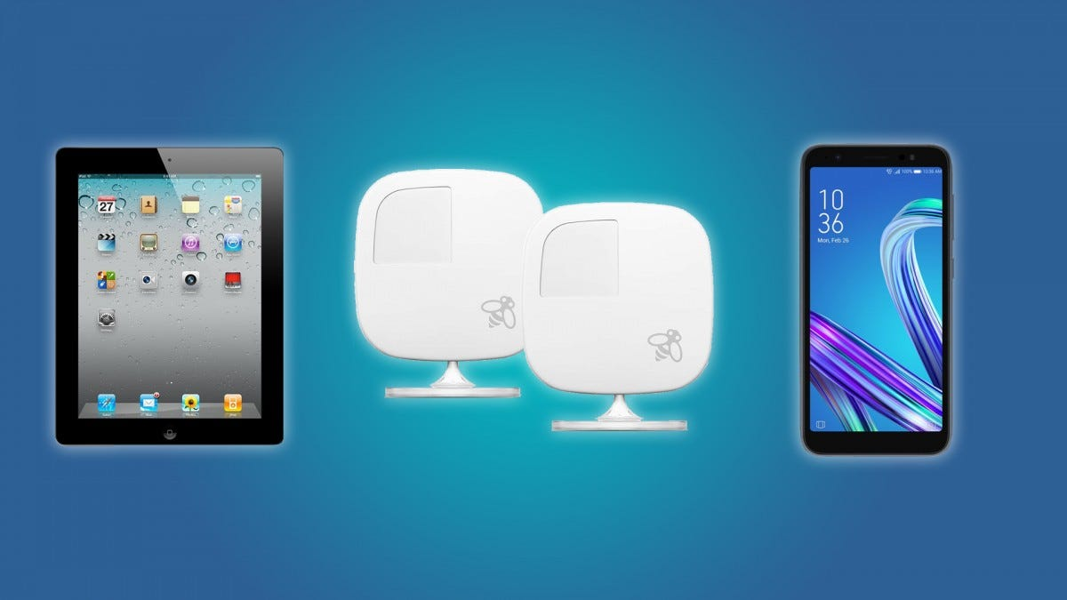 The iPad 2, the ecobee Room Sensor 2-Pack, and the ASUS ZenFone