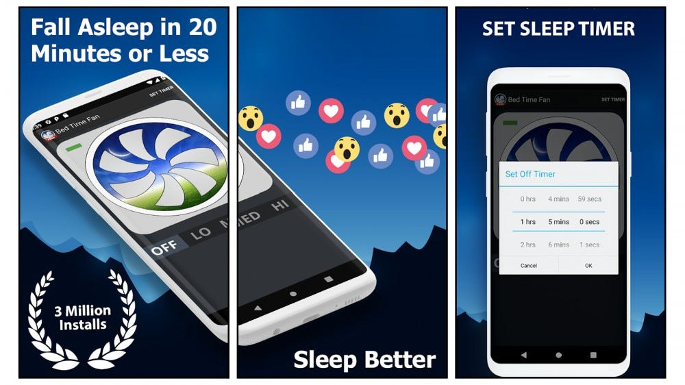 Bed Time Fan Noise white noise app free sleep timer