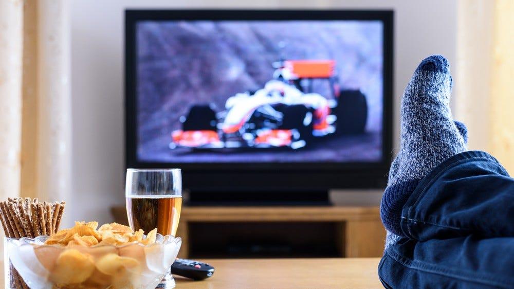 A photo of someone kicking back and enjoying free OTA TV.