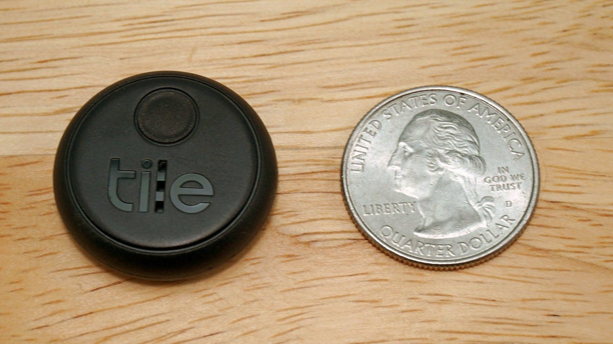 The Tile Sticker compared to a US quarter.