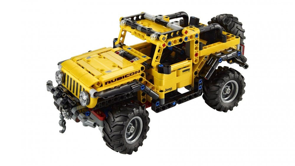 A close-up of the LEGO Jeep wrangler with its winch system.