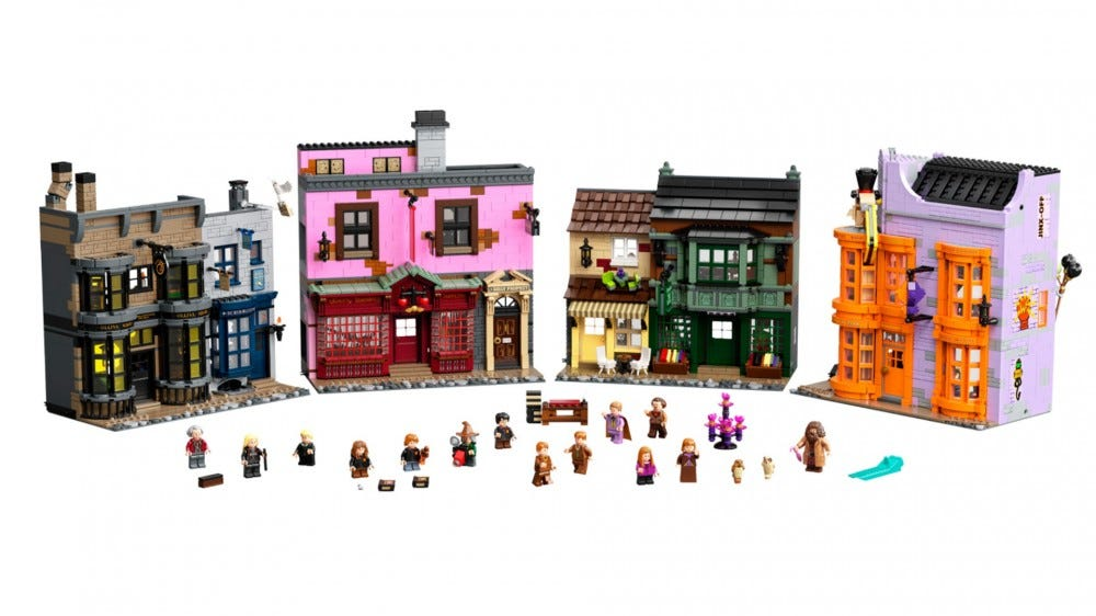 LEGO harry potter diagon alley set with shops and characters