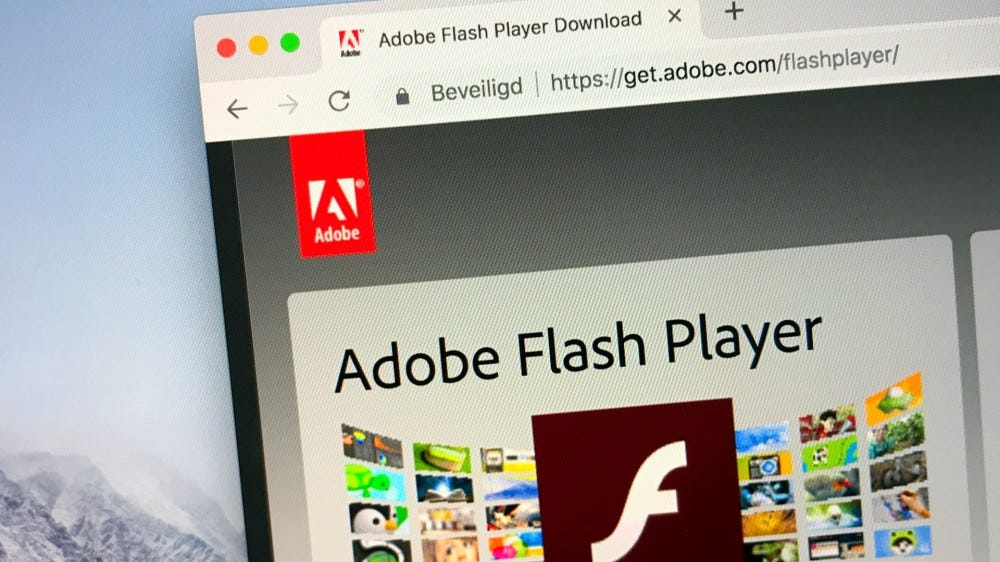 Website of Adobe Flash player