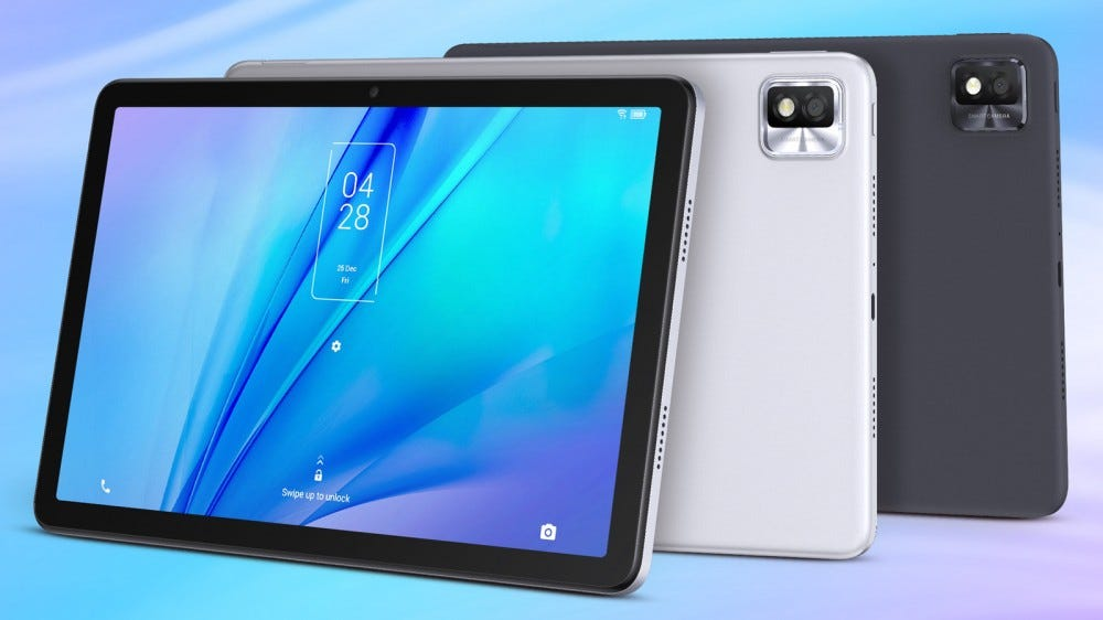 TCL TAB10S front and rear view in two colors