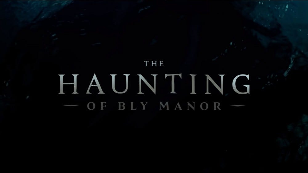 The Haunting of Bly Manor text on a watery backgroun