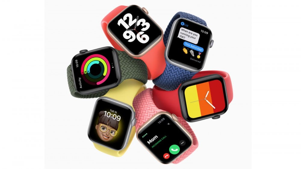 Apple Watches with different band colors