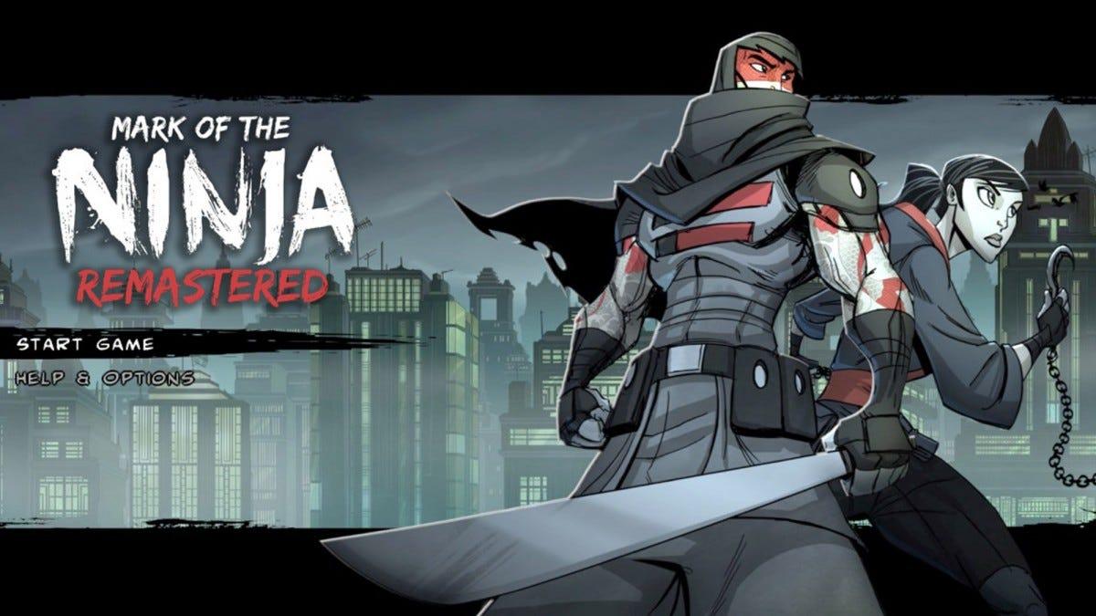 Mark of the Ninja Start Game screen.