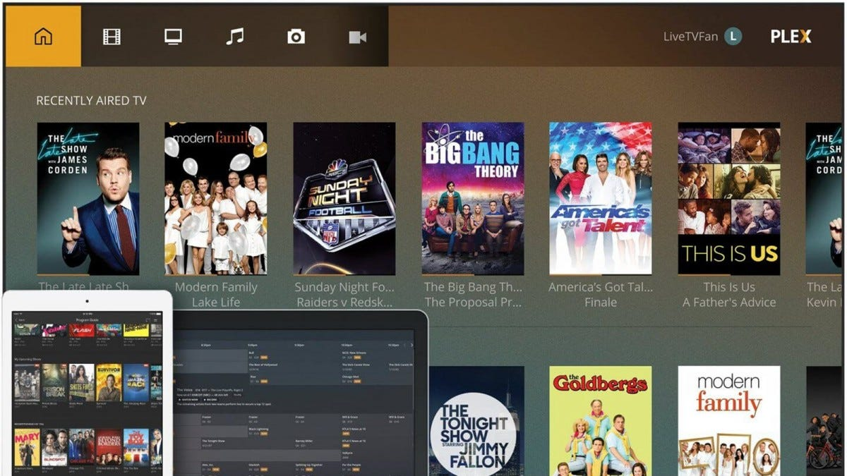 The Plex Live TV interface, with several shows available.