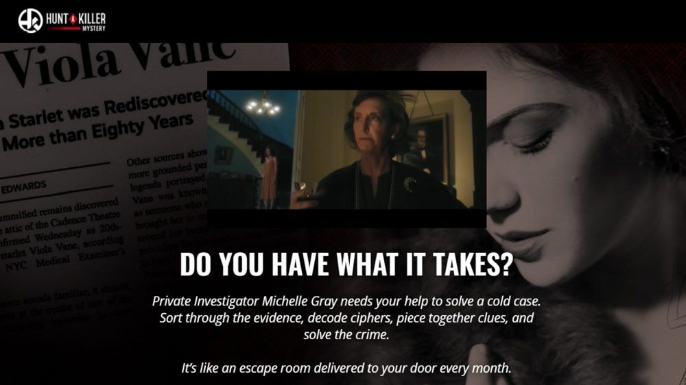 Hunt a Killer mystery subscription box website