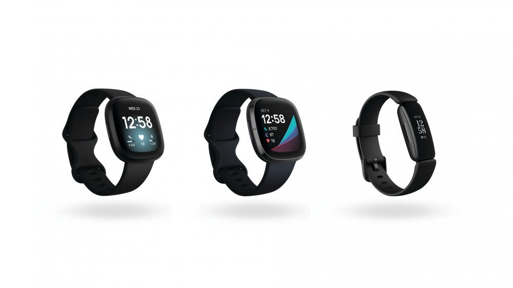 The Fibit Sense, Versa 3, and Inspire 2 side by side.