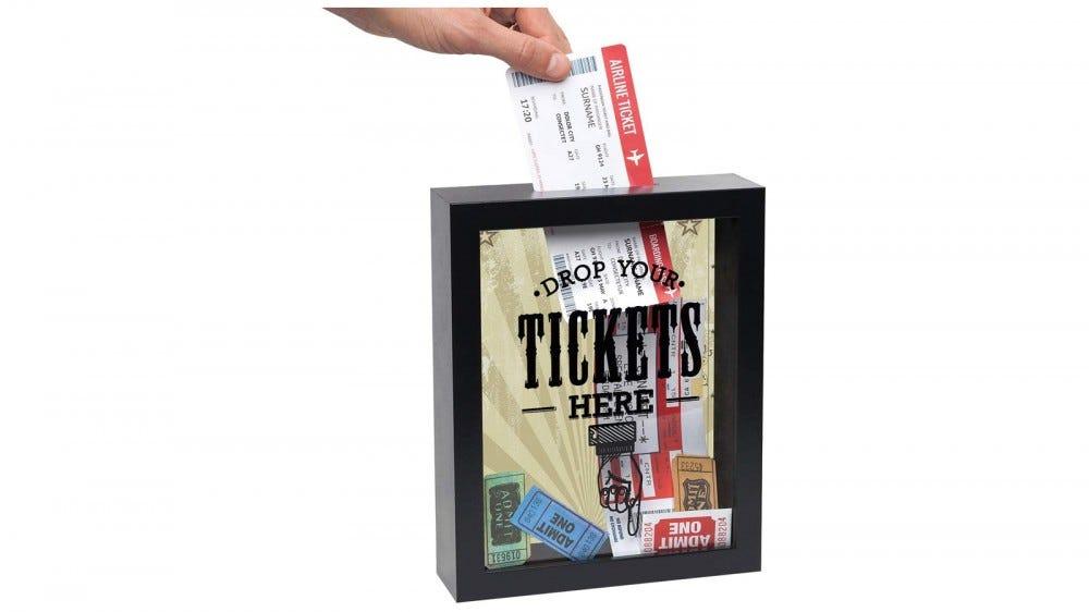 Wood and glass ticket stub shadow box