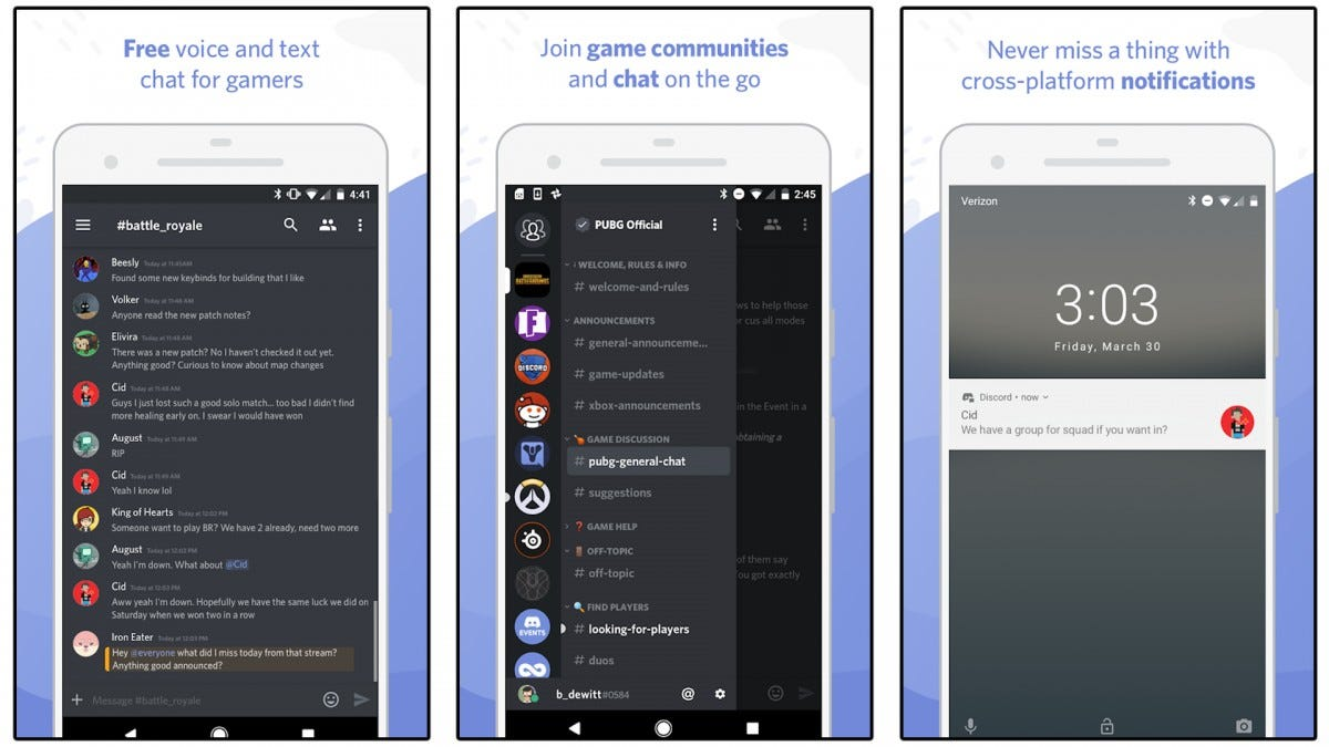 Screenshots of the Discord app.