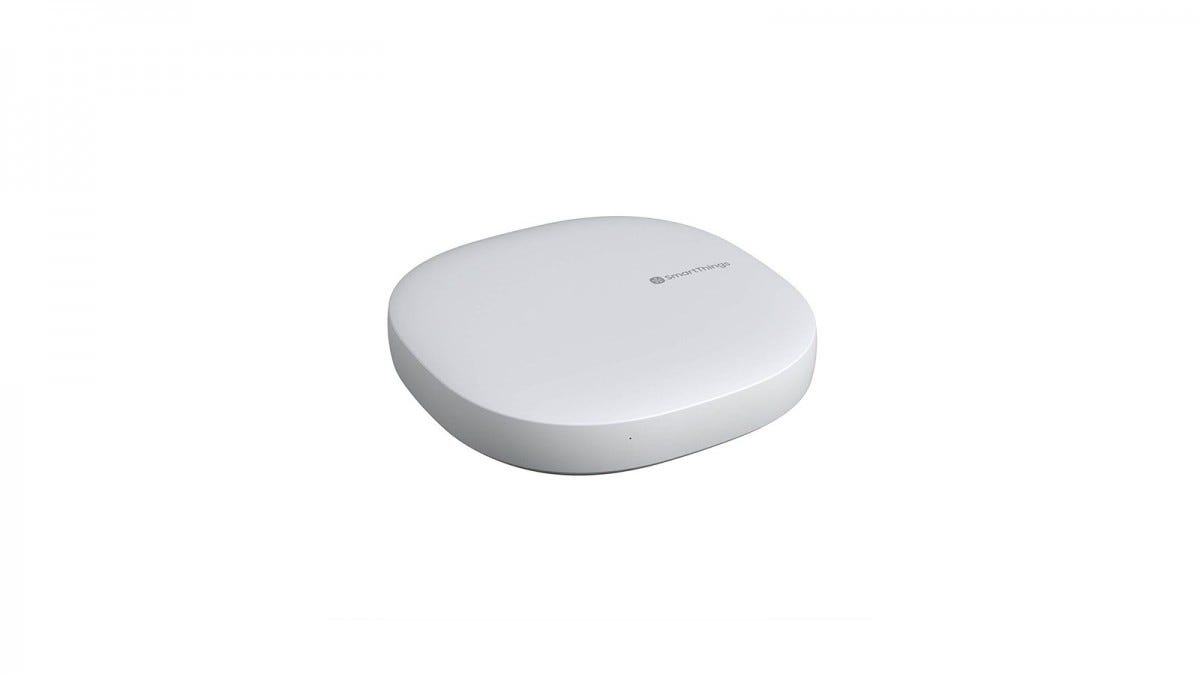 A white Samsung SmartThings hub