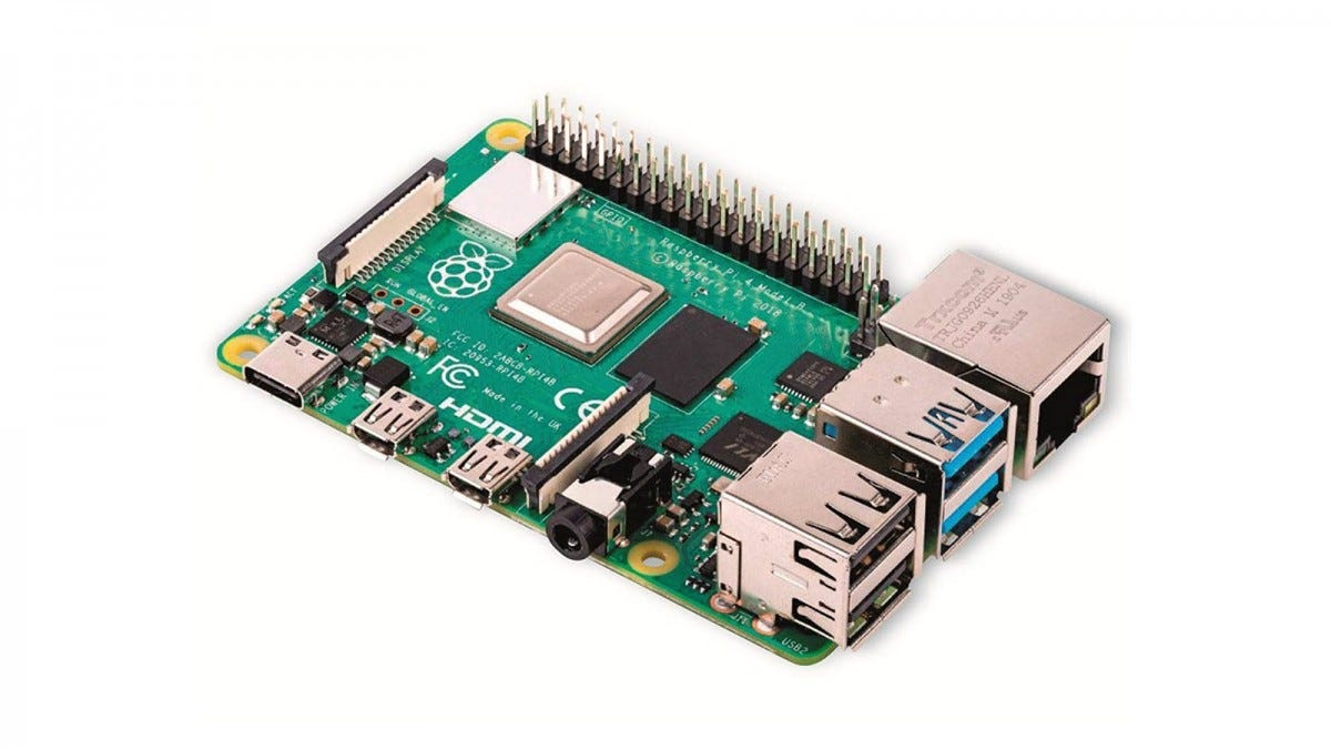 A Raspberry Pi 4 with USB-C port and two micro-hdmi ports