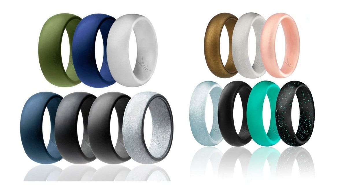 A set of ROQ men and women rings in various colors.