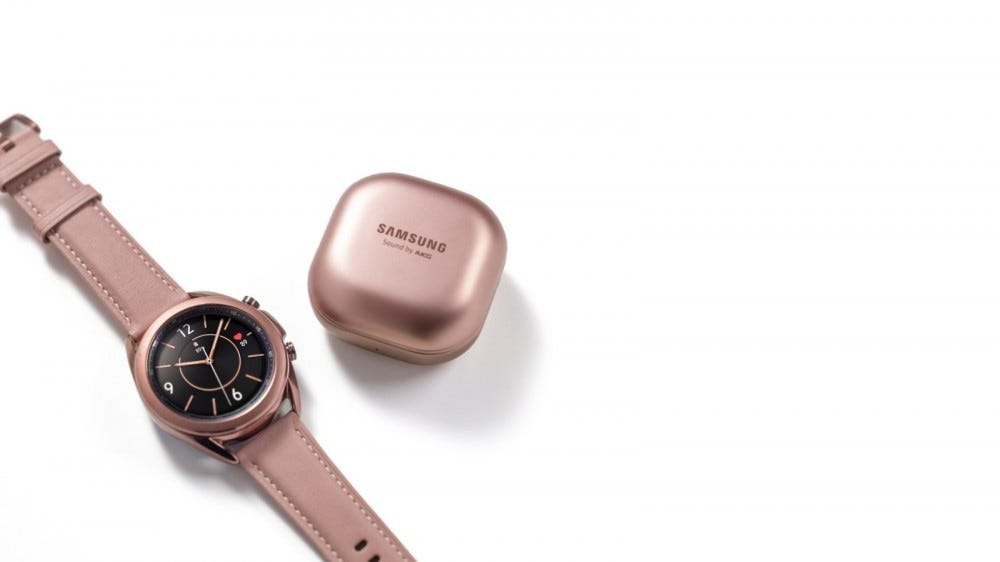 Samsung Galaxy Watch3 next to Galaxy Buds Live