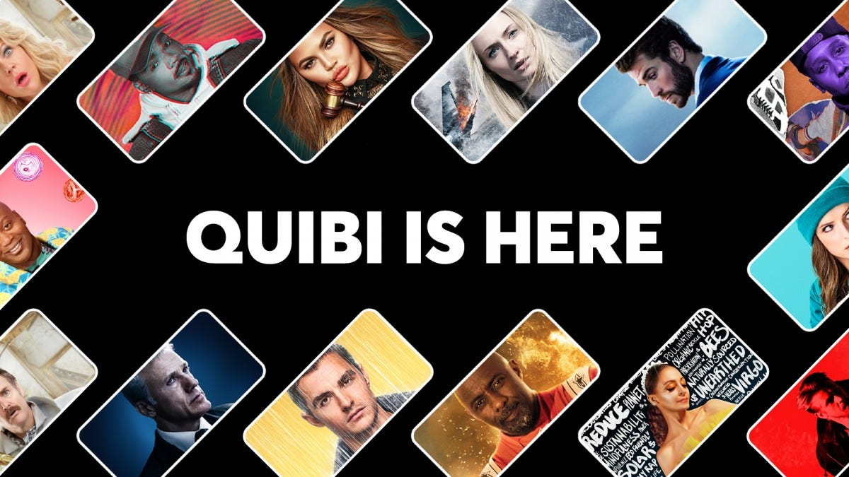A sea of phones displaying Quibi Video