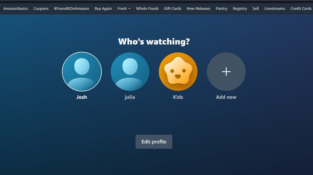 A screenshot of the profile selection page on Prime Video.