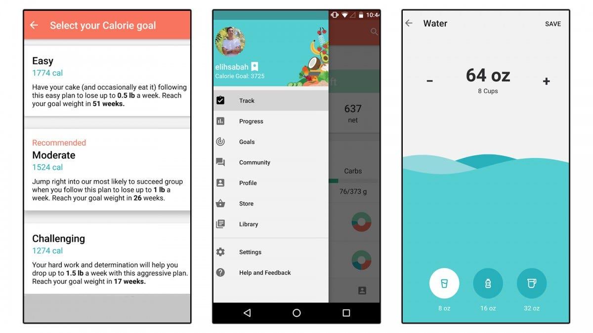 Three screenshots of the MyPlate app.