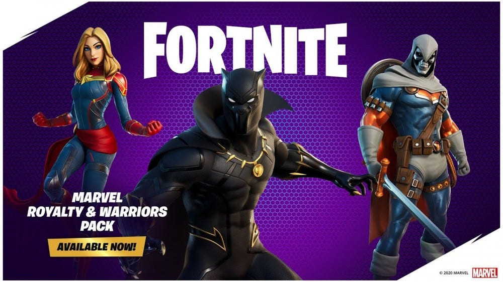 A photo of the Black Panther, Captain Marvel, and Taskmaster 'Fortnite' skins.