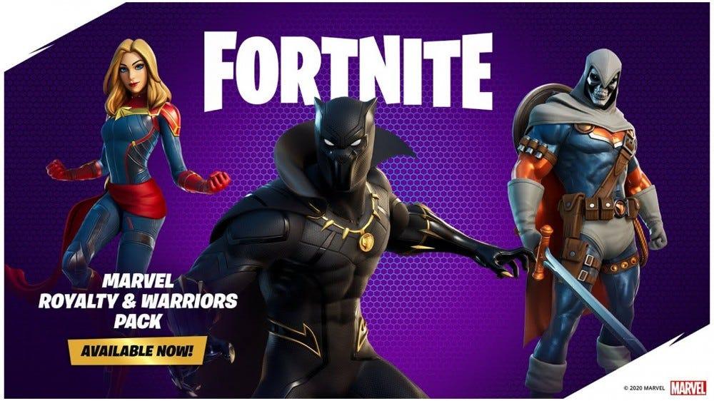 A fekete párduc, a Marvel kapitány és a Taskmaster 'Fortnite' bőrének fényképe.