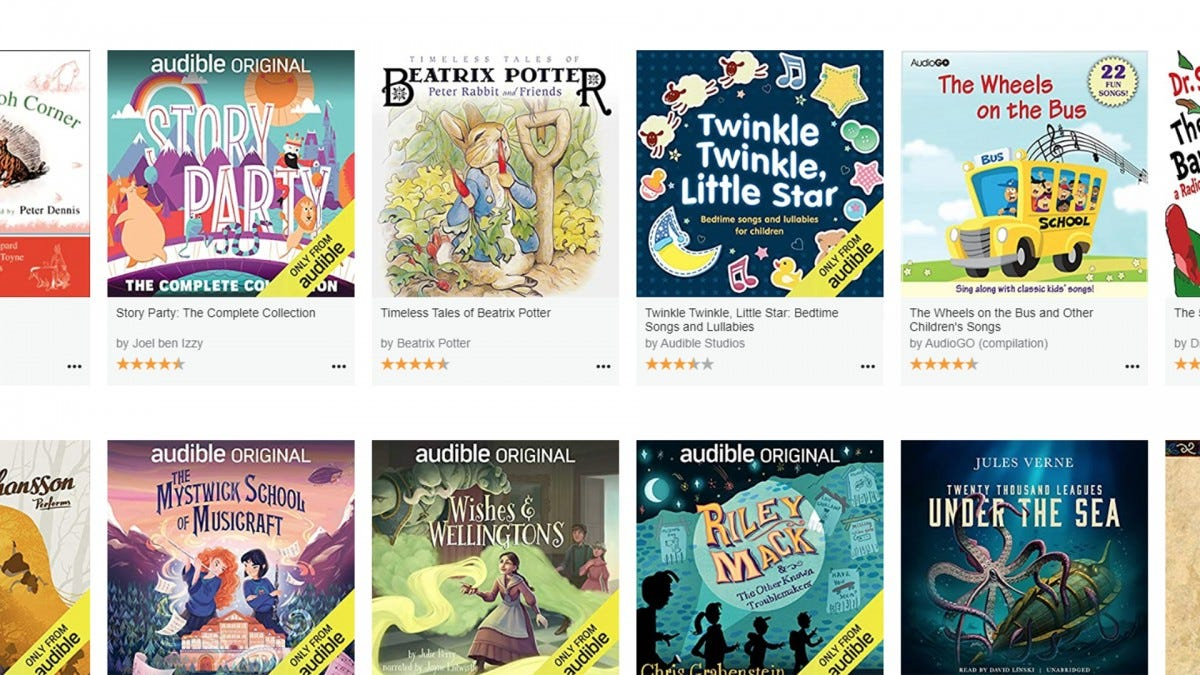 A screenshot of Audible's Stories page.