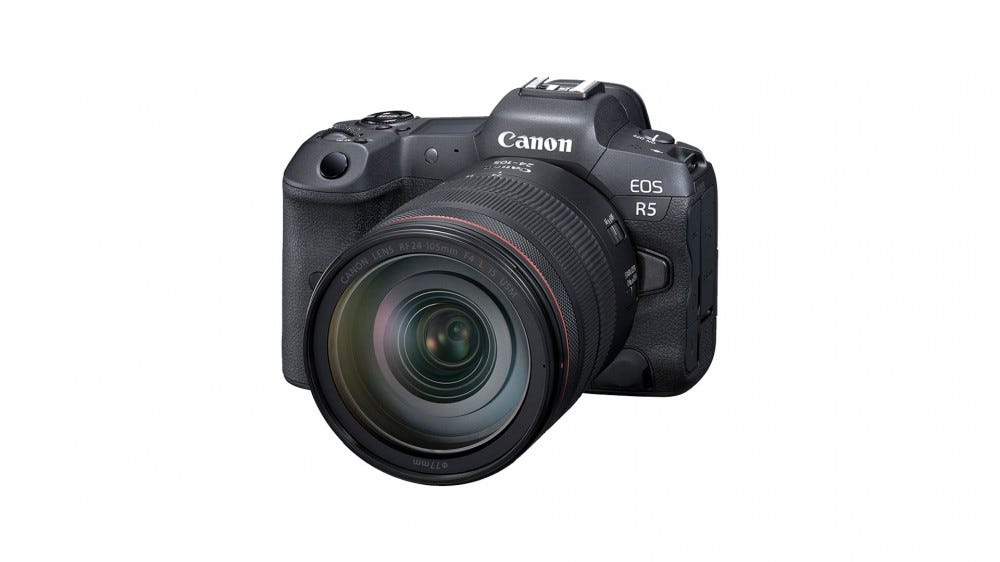 Canon EOS R5 on a white background