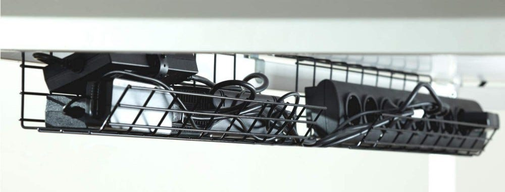 Under-the-desk cable tray.