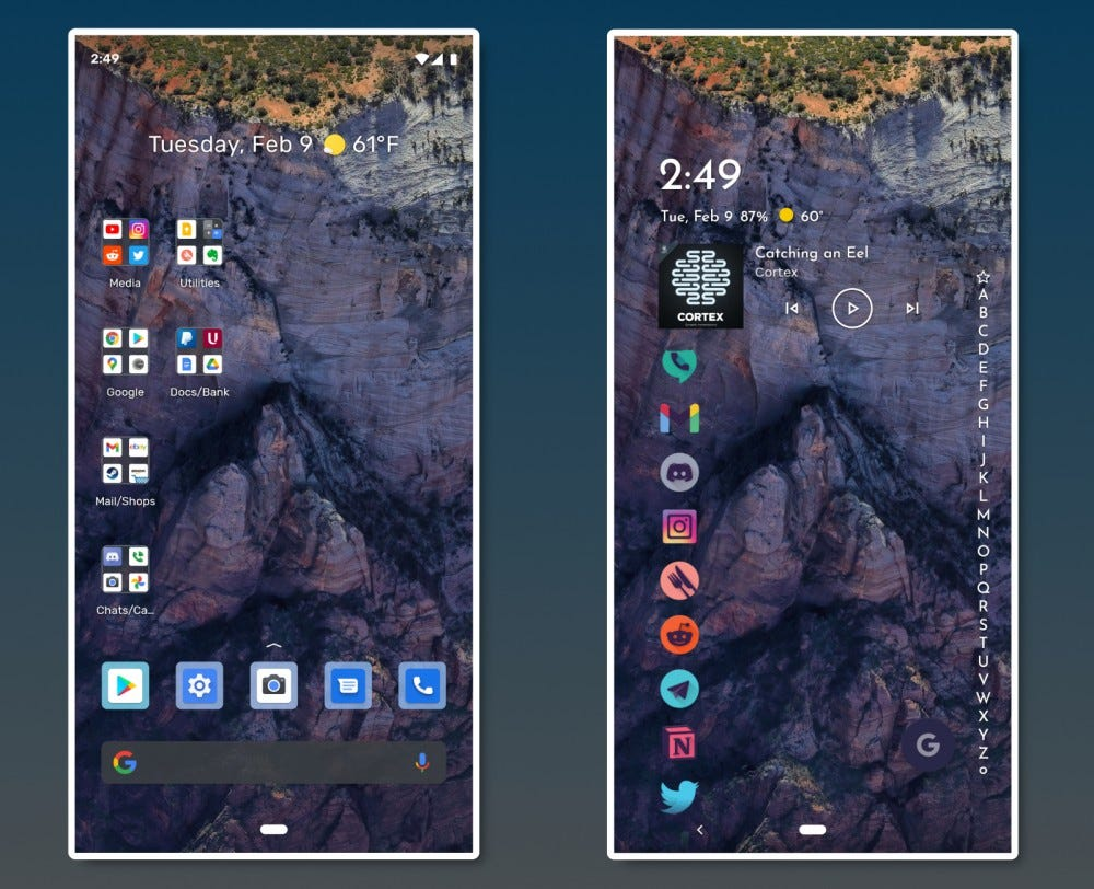 Default Android homescreen and Niagara launcher homescreen side by side